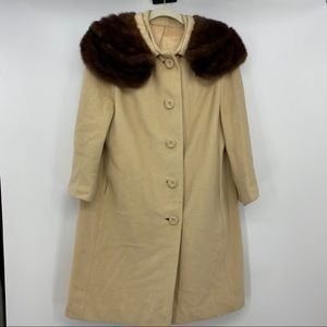 Vintage Chinese cashmere and fur coat  sz 10